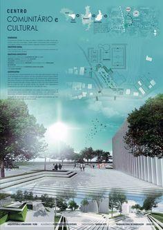 Centro comunitário cultural, Tcc Arquitetura e urbanismo. Architecture presentation board