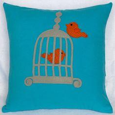 Aqua Blue Birdcage and orange Birds Pillow Cover by Petette, $27.00
