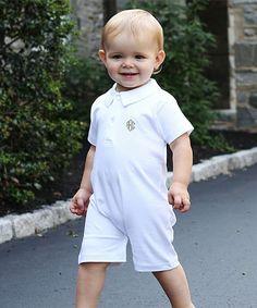White Pima Monogram Baby Romper - Infant