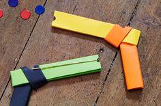 How to make a paper gun that shoots - goodtoknow Paper Folding Crafts, Cool Paper Crafts, Cardboard Crafts, Diy Crafts, Origami Weapons, Glue Gun Crafts, Diy Glue, Cute Kids Crafts, Armas Ninja