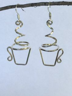 Coffee or tea cup earrings, sterling, copper by WesternDesertDesigns on Etsy https://www.etsy.com/listing/549637087/coffee-or-tea-cup-earrings-sterling