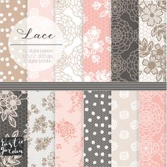 LACE digital paper for wedding shower invitation. Floral shabby chic lace digital paper in blush pink beige and brown. #Pink #Wedding #PinkWedding #Paper
