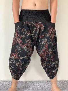 Excited to share this item from my shop: Bamboo Leaves Samurai Pant with Elastic Waist, Samurai Pants Gypsy Pants, Boho Pants, Samurai Pants, Maxi Pants, Yoga Trousers, Black Harem Pants, Boys Pajamas, Boho Fashion, Men Fashion