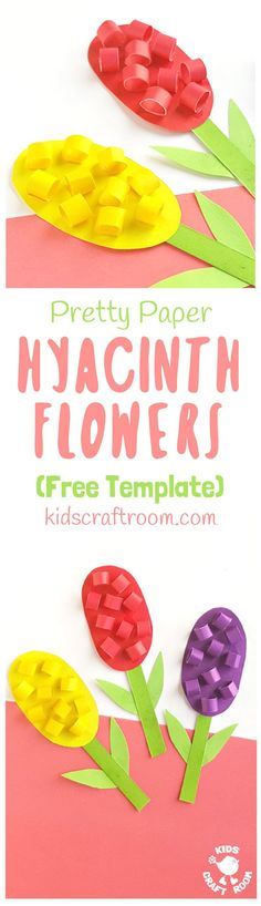 HYACINTH CRAFT - Celebrate Spring with this Pretty Paper Hyacinth Flower Craft. You can make them in all sorts of bright and cheerful colours everyone will love. Their gorgeous spikes of colour are always such a welcome sight after a long Winter. (Free printable template.) #papercrafts #flowercrafts #hyacinths #hyacinthcrafts #mothersdaycrafts #springcrafts #kidscrafts #kidsactivities #craftsforkids #kidscraftroom #flowers #mothersday via @KidsCraftRoom