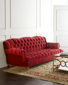 Smith Cranberry Tufted Sofa from Haute House at Horchow, where you'll find new lower shipping on hundreds of home furnishings and gifts. Velvet Furniture, Sofa Furniture, Living Room Furniture, Living Room Decor, Furniture Design, House Furniture, Living Rooms, Cheap Furniture, Luxury Furniture