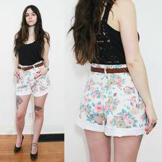 vintage floral shorts / 90s jean high waisted shorts / spring boho denim  shorts on Etsy