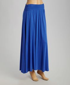 Look at this #zulilyfind! Boing Blue Ruched Maxi Skirt #zulilyfinds