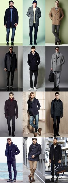 Militaty Style Lessons: Men's Military Pea Coats Outfit Inspiration Lookbook