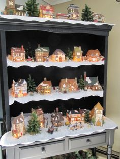 Christmas Village Display idea....Old book case or hutch