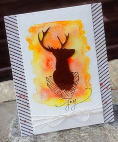 Watercolored Masculine Card @silhouettepins #scrapbookadhesivesby3L, #watercolor  #masculinecard More info: http://ninabdesigns.blogspot.com/2014/11/watercolored-masculine-card.html