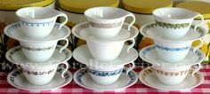 Mother and kid friendly tea cups. I'd be delighted if we found a new one as a present. Sadly, the mother's in my life keep passing theirs to me as fast as they can, so not exactly a gift that I can give. Vintage Pyrex, Vintage Kitchen, Corelle Dishes, Serveware, Tableware, Blue Onion, Cooking Dishes, Vintage Recipes, Keepsakes