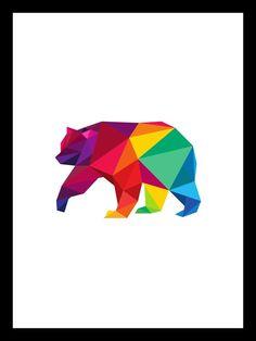 Polygon Bear, Printable File, Geometric color,Bear Geometric Wall Art *10* #PopArt