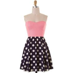 Light pink Navy and white polka dotted strapless open bow back skater... (€20) ❤ liked on Polyvore featuring dresses, spotted dress, strapless skater dress, skater dress, light pink strapless dress and strapless polka dot dress