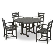 POLYWOOD La Casa Cafe 5 Piece Slate Grey Plastic Outdoor Patio Dining Set
