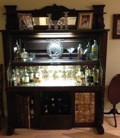 Repurposed the pump organ into a really functional bar.