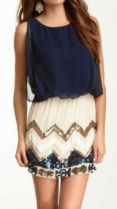 Navy Chiffon Blouse With Cream Skirt... pretty <3