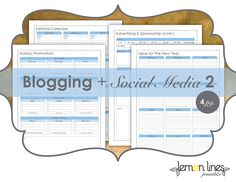 Blogging & Social Media Printable Pack by LemonLinesPrintables. In depth! As a blogger, this pack helped tremendously!