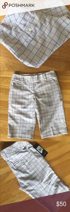 Adidas Striped Plaid Golf Shorts Adidas Striped Plaid Golf Shorts tan in Color with navy and pink Plaid stripes. These are long. Made for golfing.  NWT. Never worn. Two front pockets and two back buttoned pockets. Side slits. adidas Shorts Bermudas