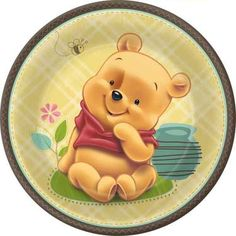 Hallmark - Disney Baby Pooh and Friends Dinner Plates: plates, sold in packs of in the latest Winnie The Pooh Baby Pooh & Friends pattern. Big enough for an entree. Winnie The Pooh Pictures, Cute Winnie The Pooh, Winnie The Pooh Birthday, Winnie The Pooh Friends, Eeyore, Tigger, Baby Disney Characters, Office Baby Showers, Cute Disney