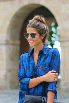 Plaid and a bun.