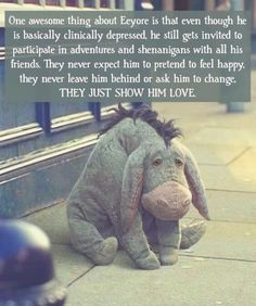 ❤eeyore has always been my favorite character. Winnie the pooh is amazing. Winnie The Pooh Quotes, Eeyore Quotes, Cute Stories, Sweet Stories, Disney Memes, Disney Brave Quotes, Feeling Happy, Disney Love, Cute Quotes