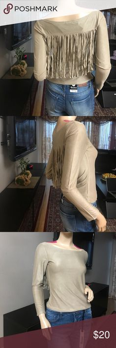 NWOT TAN TOP WITH BACK FRINGE DETAILS Really soft and cute top with back fringe details. Chance or Fate Tops