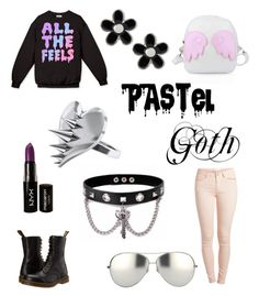 """""""Pastel Goth"""" by dramaticperson ❤ liked on Polyvore featuring Dr. Martens, Pieces, NYX, LUSASUL, Marc by Marc Jacobs, Linda Farrow and Trend Cool"""
