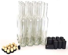Bellissima Bottles, Clear - Case of 12 Deluxe Bellissima Bottles - Case of 12 (Empty) Capacity: Fl Oz), Size: x Includes 12 Bartop Closures Includes 12 Black PVC Heat Shrink Capsules Strong, Heavy Glass - Lovely as Gifts Authentic Limoncello Recipe, Italian Limoncello Recipe, Homemade Limoncello, Wine Opener Set, Bottle Stoppers, Mini Liquor Bottles, Homemade Liquor, Antique Glass Bottles, Alcohol Drink Recipes