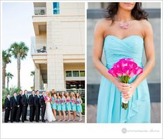 Pink/turquoise wedding party