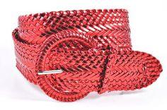 20b4fabb5 Women's Fashion Web Woven Braid Faux Leather Metallic Wide Belt, S 33