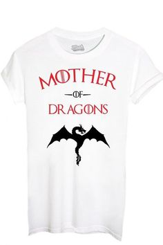 T-Shirt Mother Of Dragons Game Of Thrones - Film By Mush Dress Your Style - Damen-M Weiß
