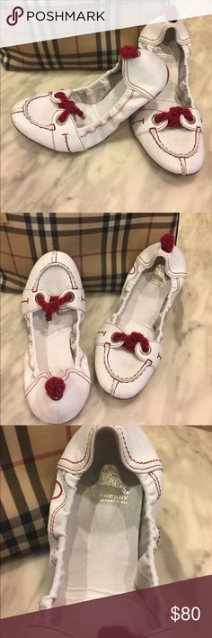 Burberry flats. Red & white. Rope detail. Sz 36 Authentic Burberry flats in Sz 36 (could fit 5.5 or 6) in red and white. Super cute rope detail. Used condition. Please ask any & all questions before purchase.  No trades. All reasonable offers welcome. Bundle and save. Posh only, please. Burberry Shoes Flats & Loafers