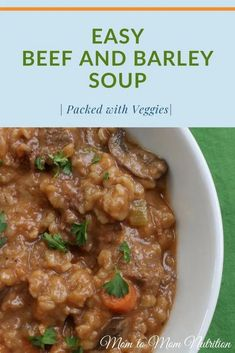 This easy beef and barley soup is made with whole grains, tender pieces of beef, and lots of veggies, making it the perfect one-pot meal! #beefandbarleysoupeasy #beefandbarleysoup #beefbarleysoup #beefbarley #easysouprecipes #veggiepackedsoup New Recipes For Dinner, Easy Holiday Recipes, Egg Recipes For Breakfast, Healthy Beef Recipes, Easy Soup Recipes, Easy Dinners, Vegan Dinners, Beef Barley Soup, Chilis