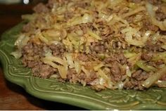 "Deep South Dish: Stir Fried Cabbage with Ground Beef or Turkey.""A simple stir fry of ground beef, cabbage and rice, it's quick, easy, and delicious! Beef Dishes, Food Dishes, Main Dishes, Cabbage And Beef, Cabbage Rice, Roasted Cabbage, Cabbage Rolls, Deep South Dish, Healthy Eating"