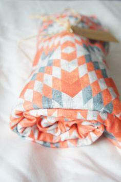 Aztec inspired Baby Blanket geometric design by RWScissors2010