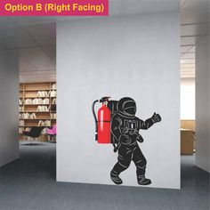 Astronaut wall decal for a fire extinguisher Creative wall sticker moon walk art for Office school collage garage warehouse decoration Office Wall Decals, Office Walls, Office Decor, Objet Deco Design, Creative Walls, Fire Extinguisher, Office Interiors, Wall Design, Wall Stickers