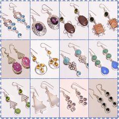 Multi Stone .925 Silver Plated Free Shipping Earrings Jewelry JA1-JA302 #Handmade #Earring