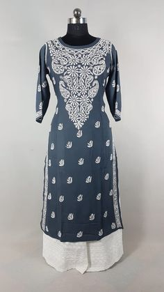 Magical Rayon Chikankari in black with hand needle embroidery Indian Suits, Punjabi Suits, Salwar Suits, Indian Dresses, Chikankari Suits, Indian Look, Kurta Designs Women, Hand Embroidery Designs, Indian Designer Wear
