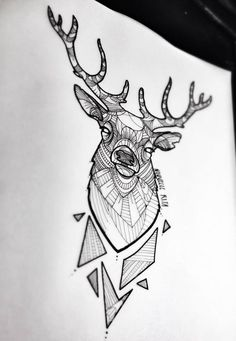 Animals, no matter what species, are beings that teach us great life lessons. Tattoos generally symbolize a specific meaning. Here are a few geometric deer tattoo designs worth considering. Et Tattoo, Tattoo Drawings, Art Drawings, Tattoo Shop, Tattoo Quotes, Cervo Tattoo, Henna Tattoo Muster, Engel Tattoos, Hirsch Tattoo