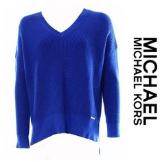 NWT Michael Kors Waffle Knit Sweater Blue Michael Kors Plus Size Waffle Knit High-lo Vneck Sweater in Amalfi Blue. Size 1X but fits XL too! Great color! New with tags! Has signature metal Michael Kors metal label on front. MICHAEL Michael Kors Sweaters V-Necks