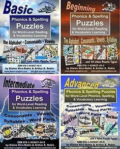 PHONICS & SPELLING PUZZLES 4 LEVELS = BASIC BEGINNING INTERMEDIATE & ADVANCED FOR READING WRITING & VOCABULARY BUILDING http://bit.ly/2duOv0A #puzzles #spelling #adulted #principal #educators #edtech #instructors