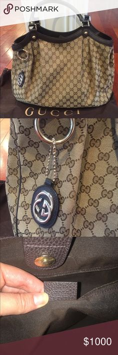 Gucci Logo Large Sukey Handbag Purse Brown Leather This gorgeous purse is like new! It was originally purchased for over $1200 at Gucci and is 100% authentic with dustbag. This is the Large Sukey which is a GIANT Bag :). This is is fabulous condition - only wear is very slight scuff to leather piping as photos show - not noticeable when wearing. I am a posh ambassador so buy with confidence! Posh Concierge is included in the purchase price. Measurements are approximately 18 x 14.5 x 6 - made…