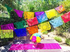 Colorful Mexican Papel Picado Handmade Banner Bunting