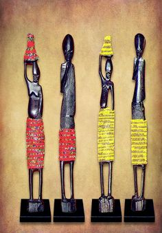 African Beaded Statues are also called African Stick Figures or Beaded Figurines and are carved from Ebony wood with colorful Bead work trim available in all colors. Ebony Color, African Crafts, African Artists, Wood Spoon, African Jewelry, Stick Figures, Deco, Statues, Hand Carved