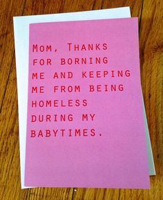 Funny birthday card for mom funny mother's day by TenseandUrgent