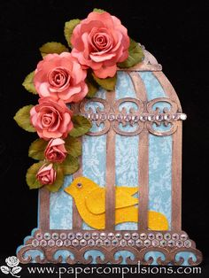 Birdcage shaped card and handmade roses made using cut files I created. Jani Lewis