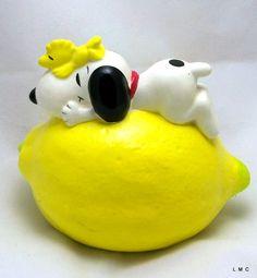 Vintage Snoopy and Woodstock Chalkware Lemon Savings Bank - 1972