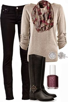 Oatmeal free people shirt, black jeans, tan riding boots, scarf