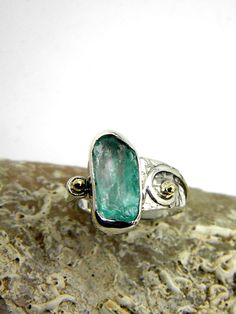 Apatite ring sterling silver rough gemstone ring by nikiforosnelly