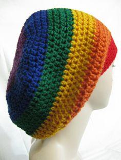 f6f6cecdb13 Blue Purple Red Orange Yellow Green Rainbow multi Tam hippie Hat Slouchy  rasta soft-acrylic